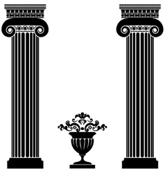 Classical greek or roman columns and vase vector image