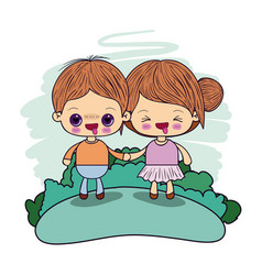 color picture couple kawaii wink girl collected vector image