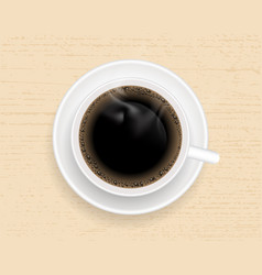 cup of coffee on wooden table top view vector image vector image