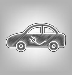 Electric car sign pencil sketch imitation vector