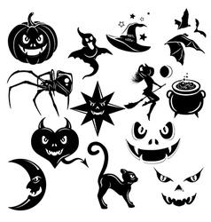 Halloween decorative elements set vector image vector image