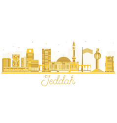 Jeddah city skyline golden silhouette vector