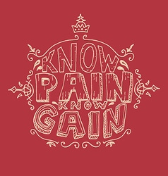 Know pain Know Gain vector image