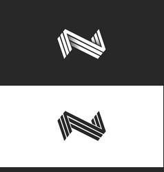 Letter n logo three nnn mark isometric lines vector