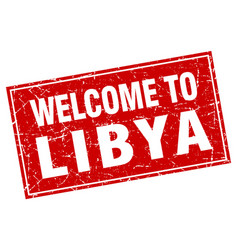 Libya red square grunge welcome to stamp vector