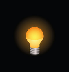 Light bulb icon in color on black background vector