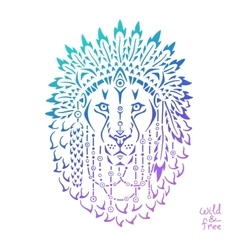 Lion in war bonnet animal native vector