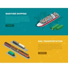 Logistic concept flat banners of maritime shipping vector image vector image