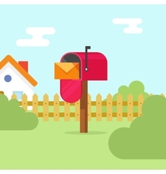 Mailbox with letter envelope and house landscape vector image vector image