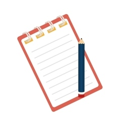 Notebook pencil notes stationary icon vector