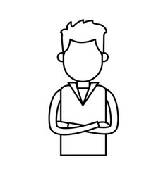 Outlined male crossed arms clothes casual vector