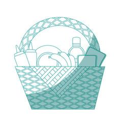 picnic basket cartoon vector image vector image
