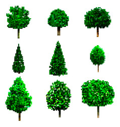 pixel art trees collection isolated on white vector image vector image