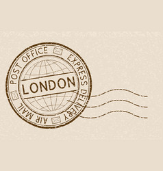 Postal stamp round brown postmark with london vector