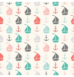 Seamless pattern of anchor and sailboat shape vector image