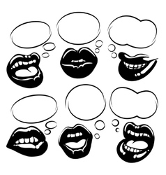 Set of black lips with bubble speech vector image vector image