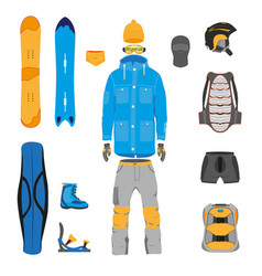Set of snowboarding gear clothing equipment vector