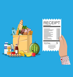 Shopping bag with food and drinks receipt vector