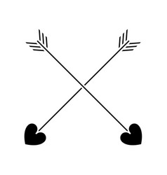 silhouette love crossed arrow element decoration vector image vector image