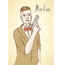 Sketch fancy mafia in vintage style vector