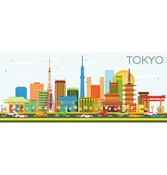 Tokyo Skyline with Color Buildings vector image vector image
