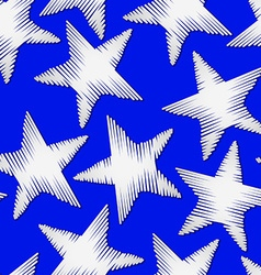 White star embroidery stitching seamless pattern vector image