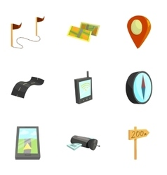 Cartography and geography tools icons set vector