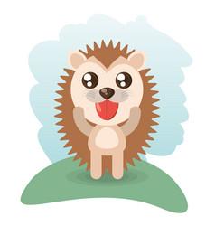 Cute hedgehog animal wildlife vector