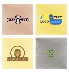 assembly flat shading style icons logo penguin vector image