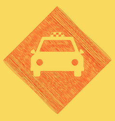 taxi sign   red scribble icon vector image