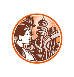 Futuristic city woman side circle woodcut vector