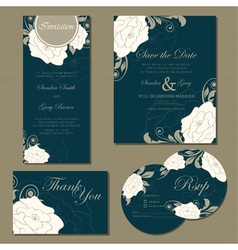 Wedding floral cards set vector