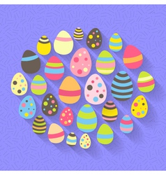 Easter eggs icon set on a purple vector