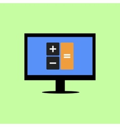 Computer with calculator icon vector