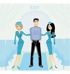 Two beautiful stewardess in blue uniforms inside vector