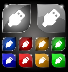 Usb icon sign set of ten colorful buttons with vector