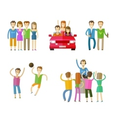 People icons set friends nightclub party or vector