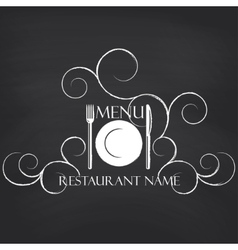 Restaurant menu on blackboard background vector image