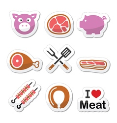 Pig pork meat - ham and bacon labels icons set vector