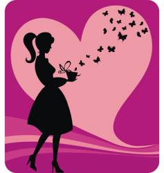 Vintage girl with romantic gift vector