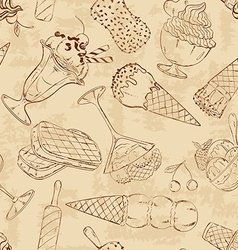 Retro sketch seamless pattern of ice cream vector