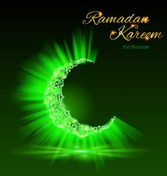Greeting card of holy muslim month ramadan in gree vector