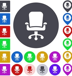 Color swivel chair icon set vector