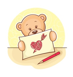 Teddy bear with drawing heart vector