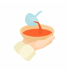 Bowl is outstretched waiting for food icon vector
