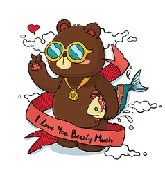 Hand drawn cool bear with ribbon greeting card vector