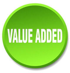 Value added green round flat isolated push button vector