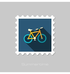 Bicycle flat stamp summer vacation vector