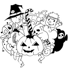 Halloween doodle art on white backgrounds vector