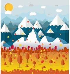 Autumn nature landscape mountains and trees vector